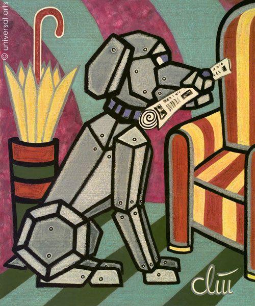 JACQUELINE DITT - Cyber dog A4 Druck n.Gemälde Bilder Roboter Hund Tier robot