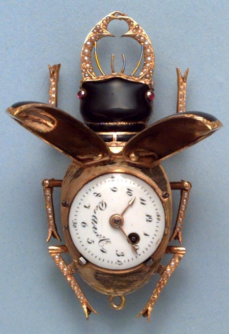 Late 18th Century Swiss verge gold and enamel pearl set watch in the form of a…