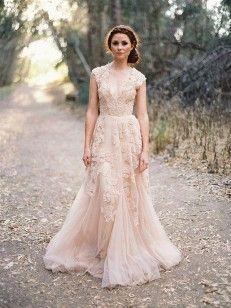 Aライン/プリンセスVネック袖なしのアップリケコートトレーンチュールウエディングドレス