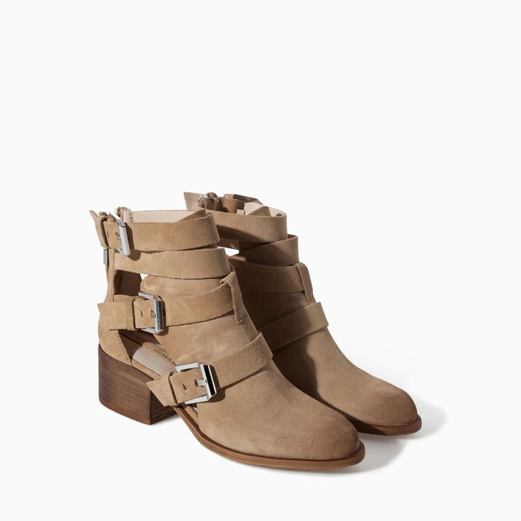 Image 2 of SUEDE LEATHER BLOCK HEEL ANKLE BOOT from Zara