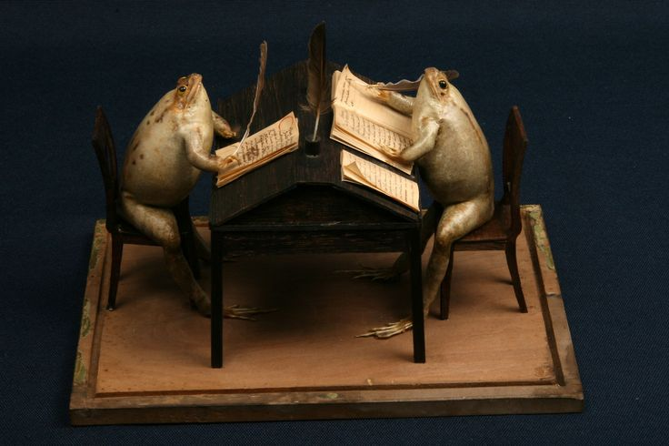 The Frog Museum in Switzerland originated in the 1850s when an eccentric Napoleonic guard began collecting dead frogs on his walks in the countryside. When he returned home he would gut them, fill the skins with sand, and arrange them into satirical tableaux depicting domestic life in the 19th century.