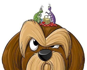 cartoon dog figure with fleas and ticks | dogs | Flea ...