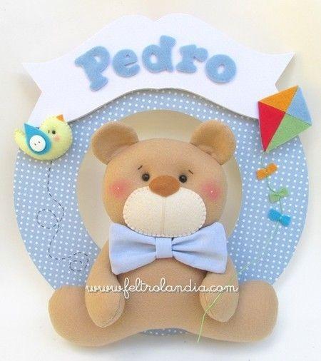 Enfeite de Porta Maternidade - Urso com Pipa / Coroa - Feltrolândia - Loja Virtual
