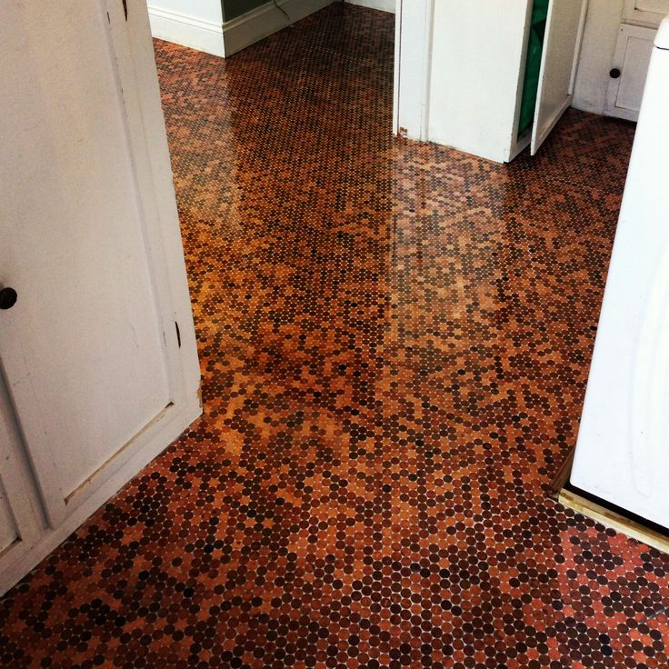 love my penny floor pennies two tubs of premixed thinset 1 bag of white nonsanded grout and one gallon of garage floor clear epoxy with non slip
