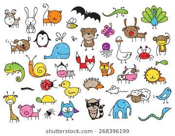 Coleção de animais estilo desenho bonito das crianças   – Illustration & Doodles