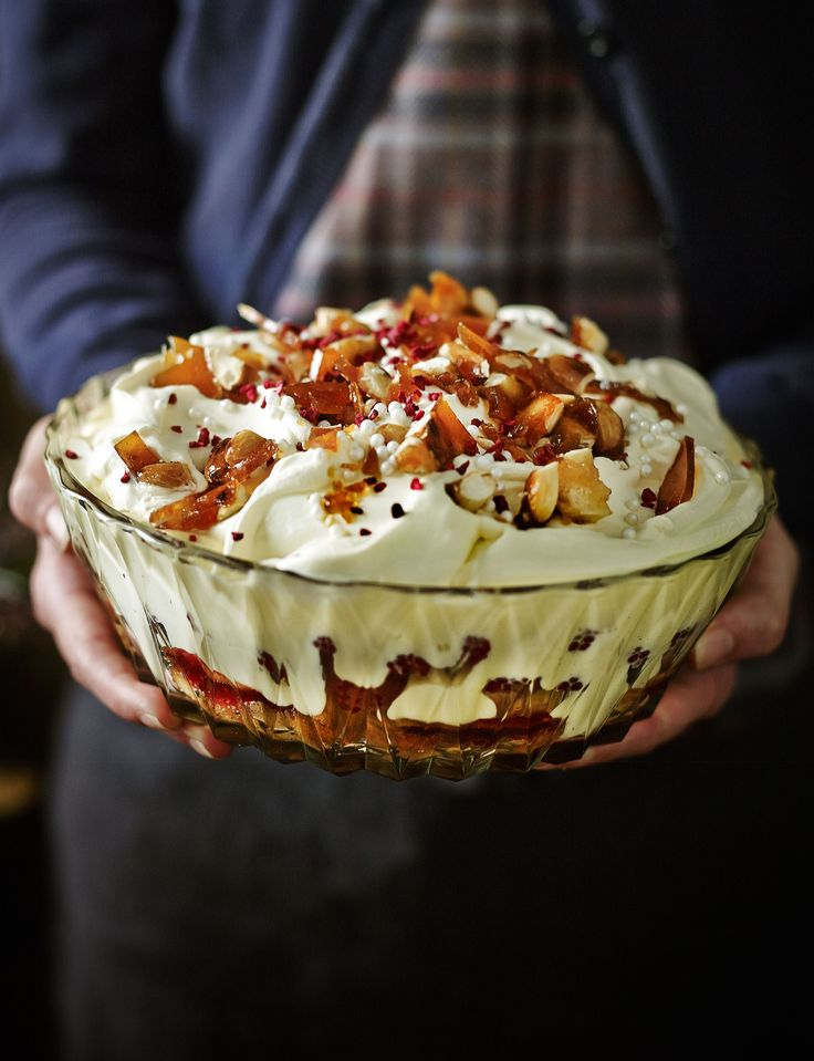 Raspberry and Amaretto trifle with salted caramelised almonds..... must. stop. drooling.