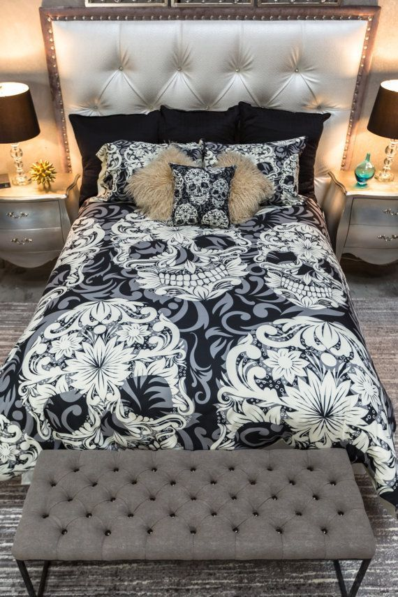 skull bedding sugar skull and scroll pattern on cream comforter cover sugar skull duvet cover sugar skull bedding set