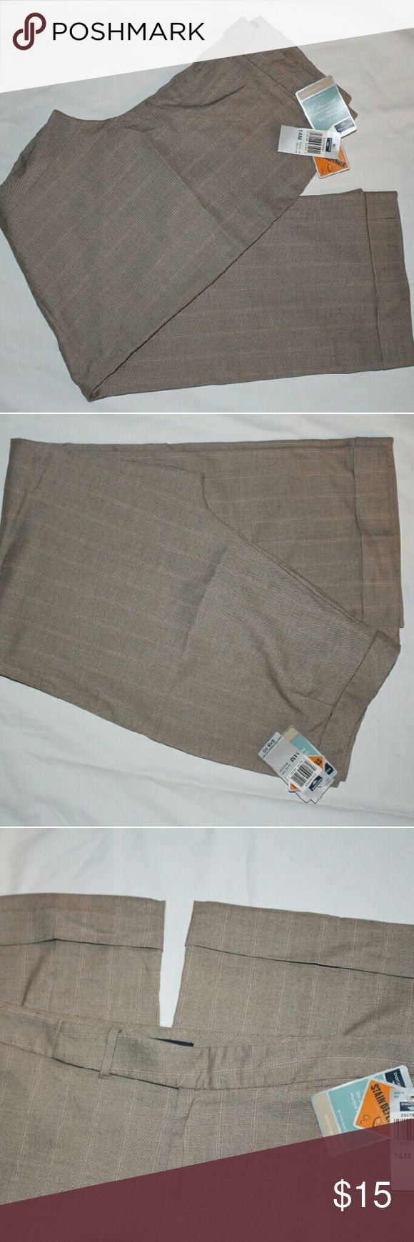 Dockers Beige Women's Sz 14M Trousers Straight Leg New with Tags DOCKERS trousers for ladies size 14M. They are straight leg, beige, stripped, microblend, inseam Medium, sits below waist, stain defender. Dockers Pants Trousers