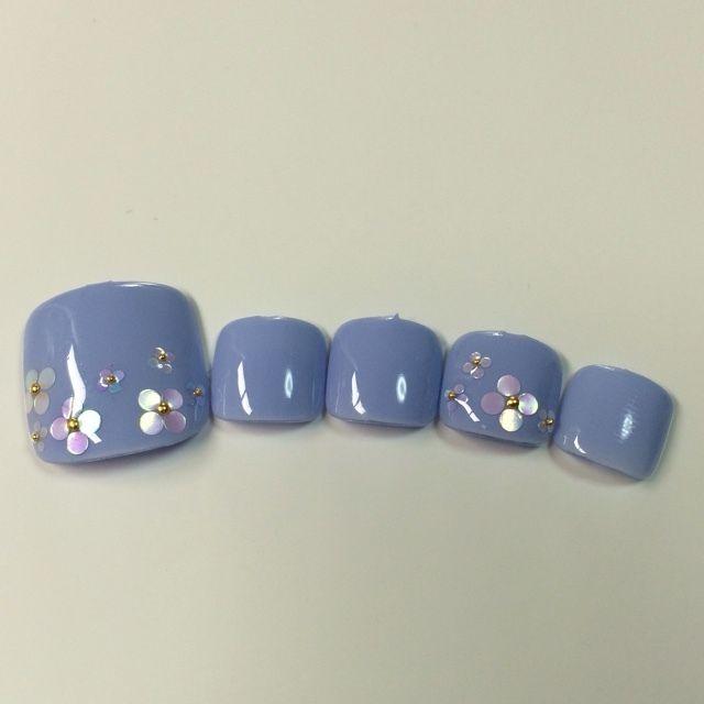 ネイル 画像 Nailsalon ohana 二子新地 1598107 グレー 青 ホログラム ワンカラー フラワー 梅雨 オールシーズン 浴衣 ソフトジェル フット