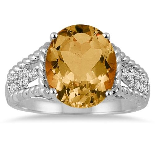 4.20 Carat Oval Shape Citrine and Diamond Ring in 14K White Gold, Women's, Size: 10.5