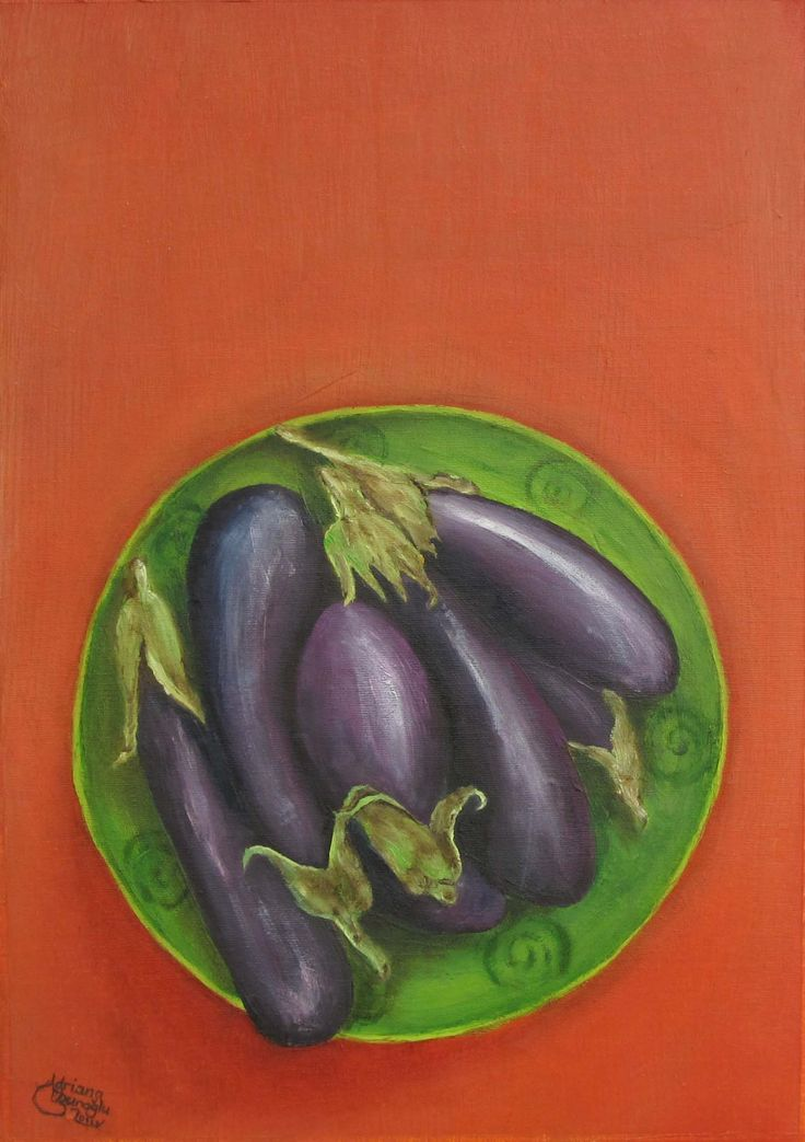 """İmambayıldı - Oil on canvas (A3) İmambayıldı, literally: """"the imam fainted (from exhilaration)"""", is one of the most notable zeytinyağlı (olive oil-based) dishes found in Turkish cuisine. The name derives from a tale of a Turkish imam (a Priest), who swooned with pleasure at the flavour when presented with this dish by his wife."""