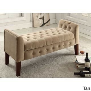 ****Velvet Tufted Settee Storage Bench | Overstock.com Shopping   The
