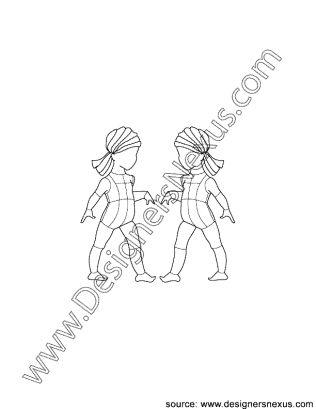Childrens Infant Girl V1 Illustrator Fashion Croqui 3 4