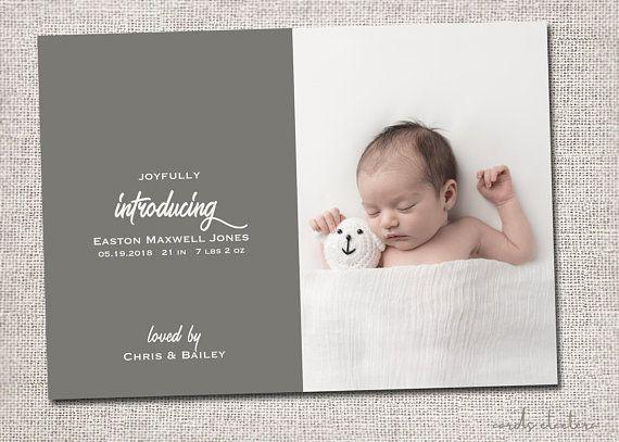 Birth Announcement Baby Boy Announcement Boy Birth Announcement