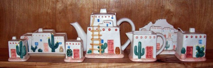 Otagiri Southwestern Tea Set Curtis Swann Adobe Pueblo Tea Pot Salt Shaker Dish