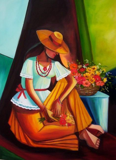 pintura a óleo, cubista, flores, floral, florista