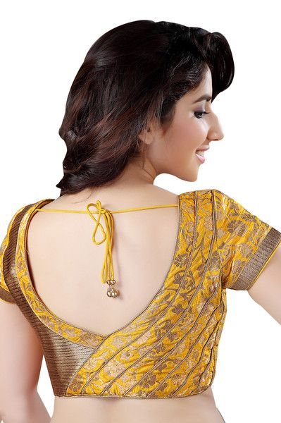 Exquisite Gold And Yellow Brocade Saree Blouse X-142