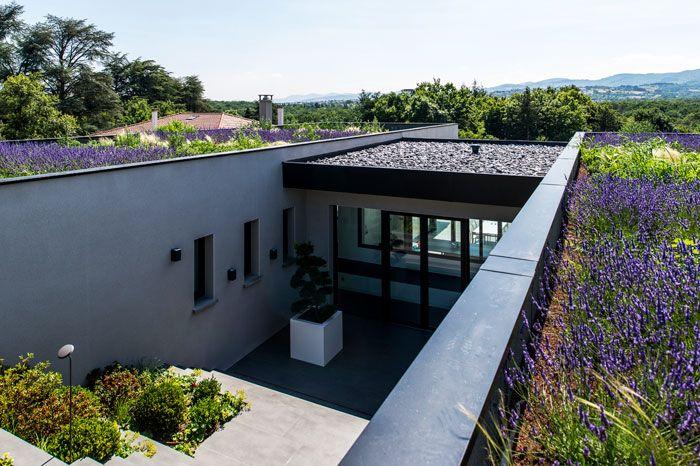Maison projetée à l'ouest de Lyon pour un paysagiste et sa famille. Les contraintes du voisinage (le vendeur du terrain) imposaient une hauteur de faitage à ne pas dépasser. Le terrain étant magnifique avec un champ fleuri descendant en pente douce coté ouest, nous avons eu l'idée de concevoir une maison enterrée dans la colline