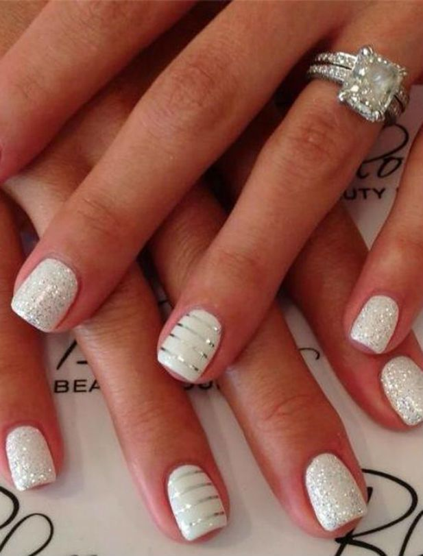 Glamorous all white wedding manicure