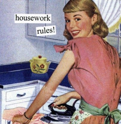 So I found a traditional schedule of a 1950s housewife. I already do quite a bit of it, but I don't bother making myself presentable unles...