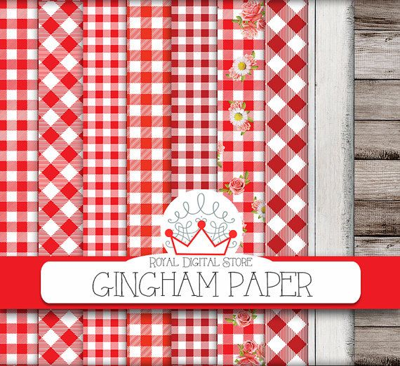 """Gingham digital paper: """"Gingham Paper"""" with red gingham, gingham tablecloth, gingham backgrounds, burlap, wood + 2 GIFT papers wood+burlap #shabbychic #wood #digitalpaper #scrapbookpaper #distressedwood #woodtexture #texture"""