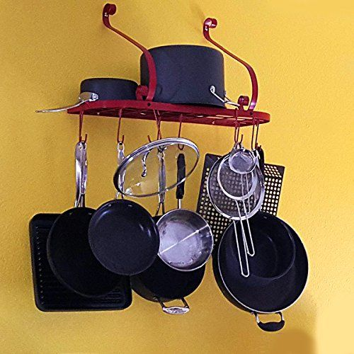 Vdomus Square Grid Wall Mount Pot Rack Bookshelf Rack With 10 Hooks Kitchen Cookware 24 By 10inch Red Amazon Best Pot Rack Cookware Storage Bamboo Wall