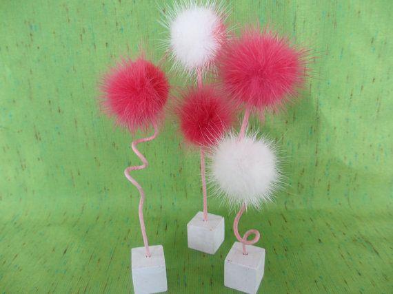 flower  fluffy  mink  modern  home decor  fuschia  by FrostedPlum, $27.00
