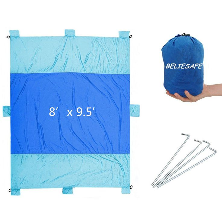 Outdoor Beach Blanket, Lightweight Durable Nylon Sand Free Quick Drying Picnic Blanket, Large Picnic Blanket 8'x 9.5' Water Resistant, Portable Beach Mat with 7 Anchor Pockets and 4 Stakes. LARGE ENOUGH FOR THE WHOLE FAMILY - Our Beach / Picnic / Multi-use blanket is a whopping 9.5 feet by 8 feet. We give you 30% MORE square footage than most competitiors on Amazon. Enough room for you, the kiddos, all your stuff, and even the family pet!. IT'S HUGE BUT COMPACT AND LIGHTWEIGHT - Made from...