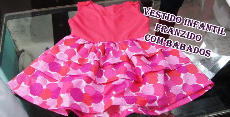 Vestido infantil franzido com babados