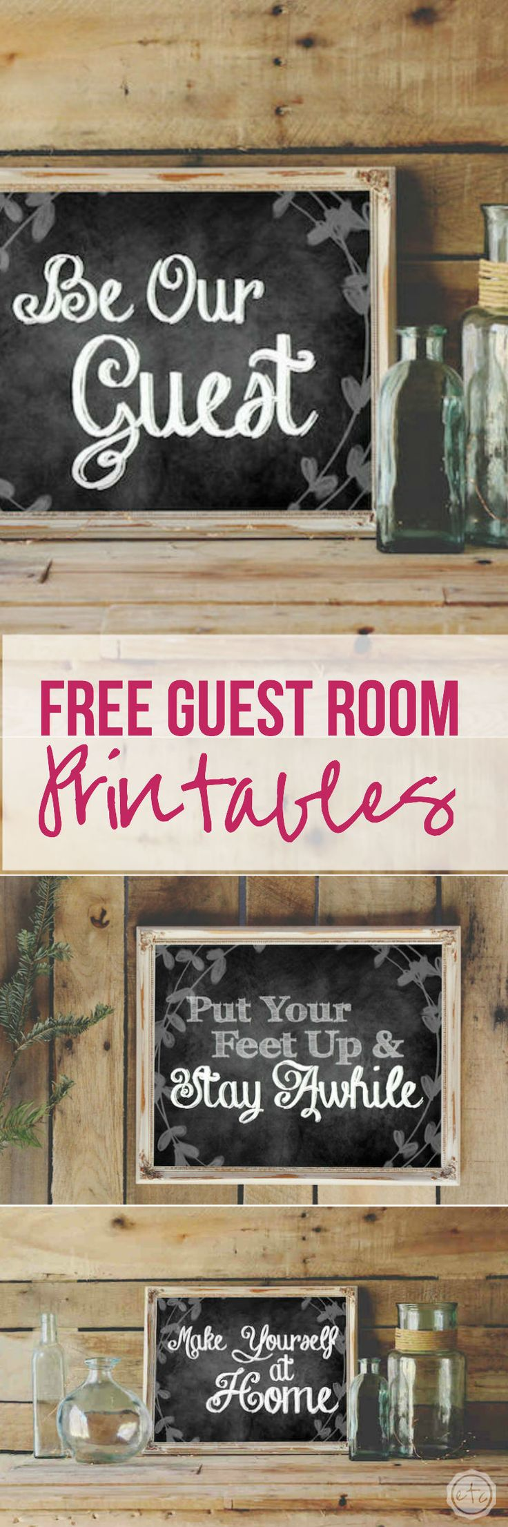Wall decor for your guest room 3 free printables free for Room labels