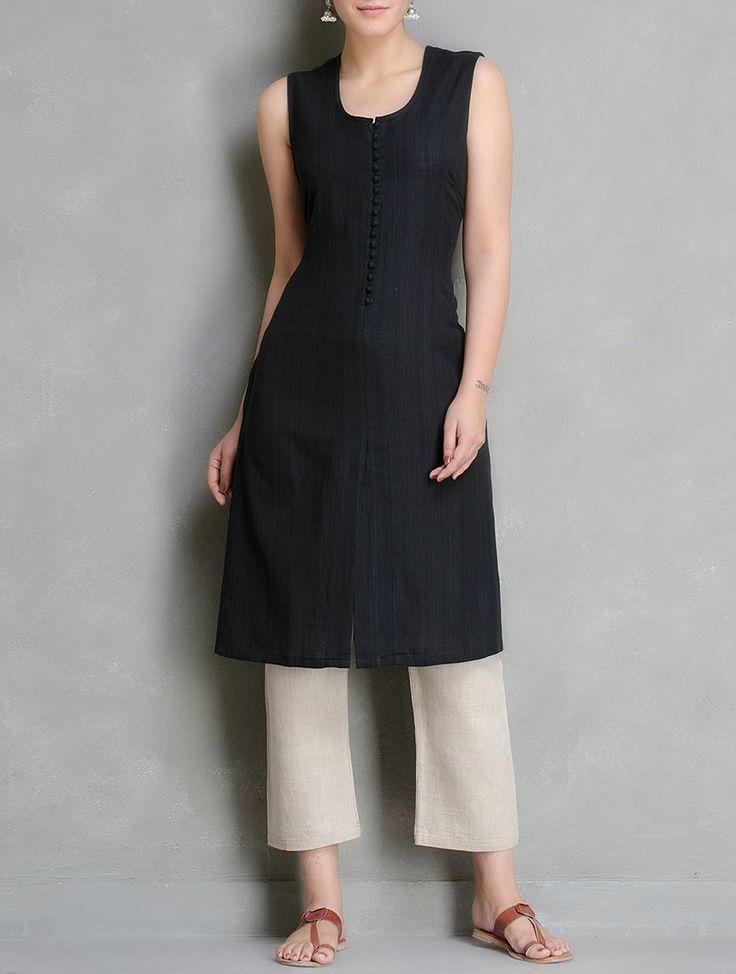 Buy Black Pleated Sleeveless Cotton Kurta By Bandhej Apparel Tunics & Kurtas Online at Jaypore.com