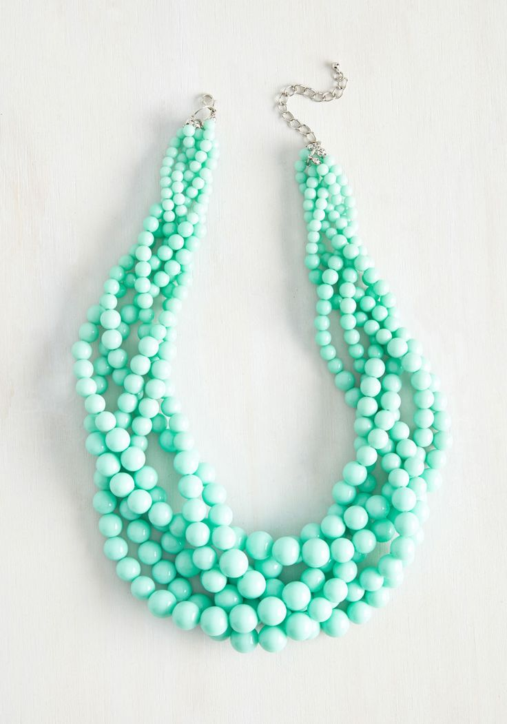Braid to Love You Necklace. If ever a statement necklace were meant to be, this mint wonder is it! #mint #modcloth