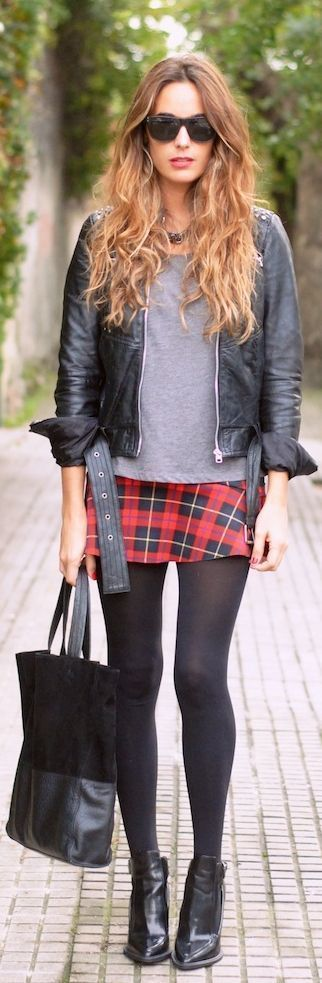 plaid skirt rock
