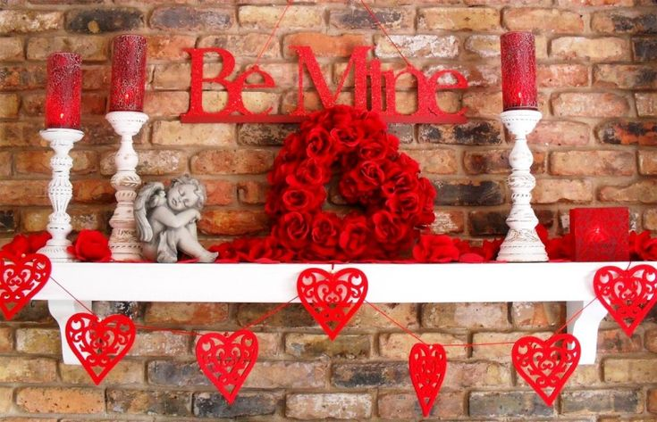 Amazing Picture Of Elegant Valentine Decoration Design Ideas: Stunning Picture Of Fireplace Elegant Valentine Decoration Decoration Using Heart Red Rose Wreath Including White Wood Shelf Over Fireplace And Red Candle Mantel Decor ~ fendhome.com Decorating Ideas Inspiration