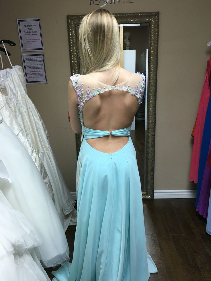Aqua Open back floral illusion prom dress