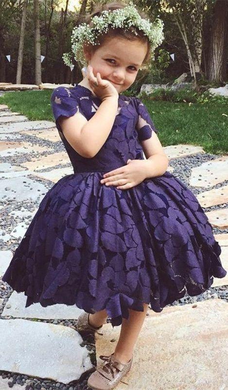 fd1edbb9f A-Line Round Neck Short Sleeves Dark Blue Flower Girl Dress
