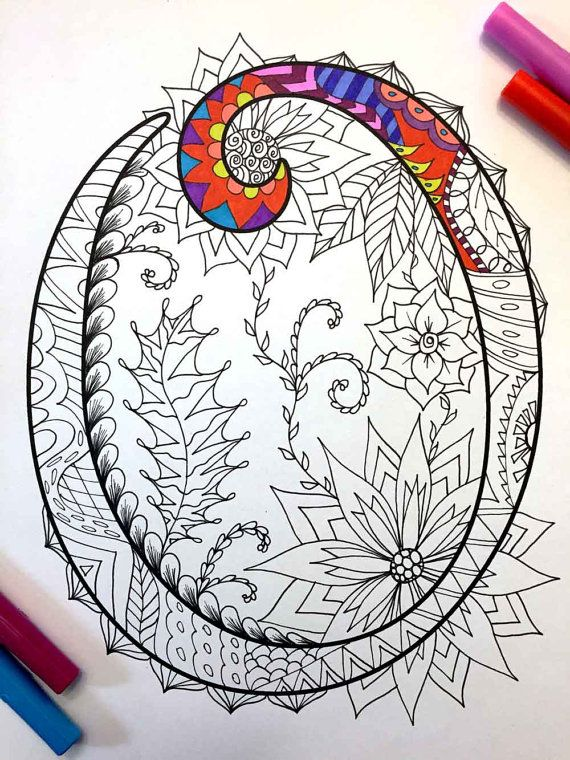 Letter O Zentangle  Inspired by the font Harrington por DJPenscript