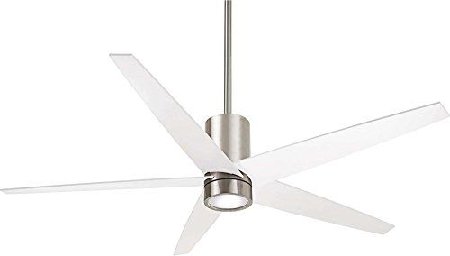 MinkaAire Symbio 5 Blade Indoor Ceiling Fan With Integrated LED Light Kit F  Brushed Nickel / White Fans Ceiling Fans Indoor Ceiling Fans