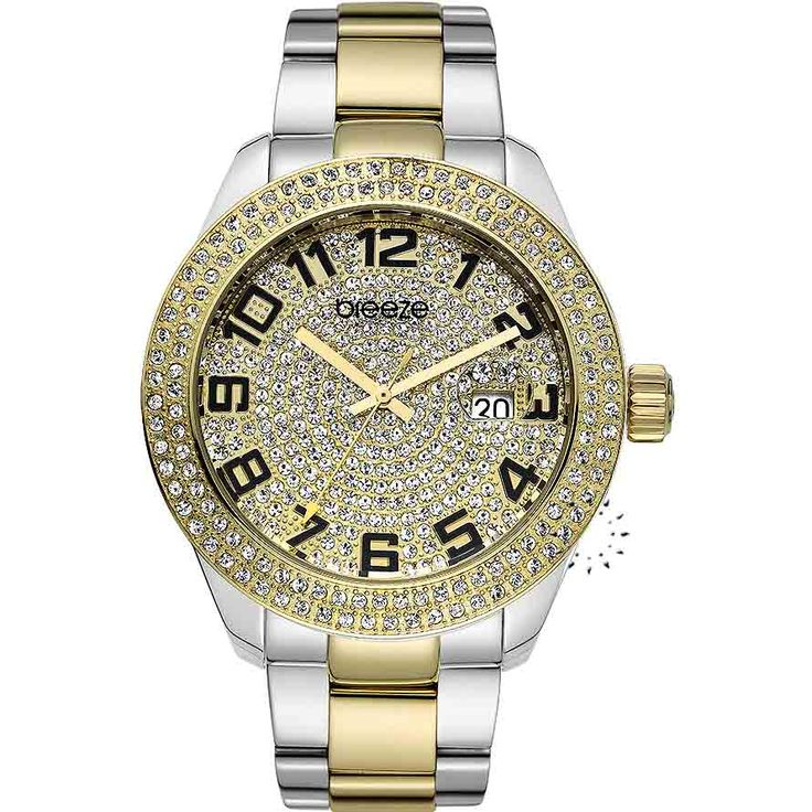 BREEZE L.A. Rigor Crystal Two Tone Stainless Steel Bracelet Τιμή: 210€ http://www.oroloi.gr/product_info.php?products_id=30572