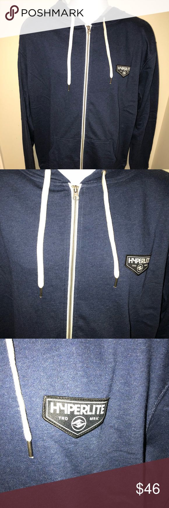 """Hyperlite Men's Chevron Front Zip Hoodie Navy XL Hyperlite Chevron Zip Hoodie.  Size XL.  Embroidered logo patch pocket, pouch pocket in front, thumbholes. Color: Navy Heather  Measurements:  Chest (armpit to armpit): 24, Sleeve: 28"""", Length: 28"""". Hyperlite Shirts Sweatshirts & Hoodies"""