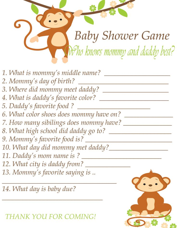 Baby Shower Game Printable Instant Download   Who Knowu0027s Mommy And Daddy  Best   Green Brown