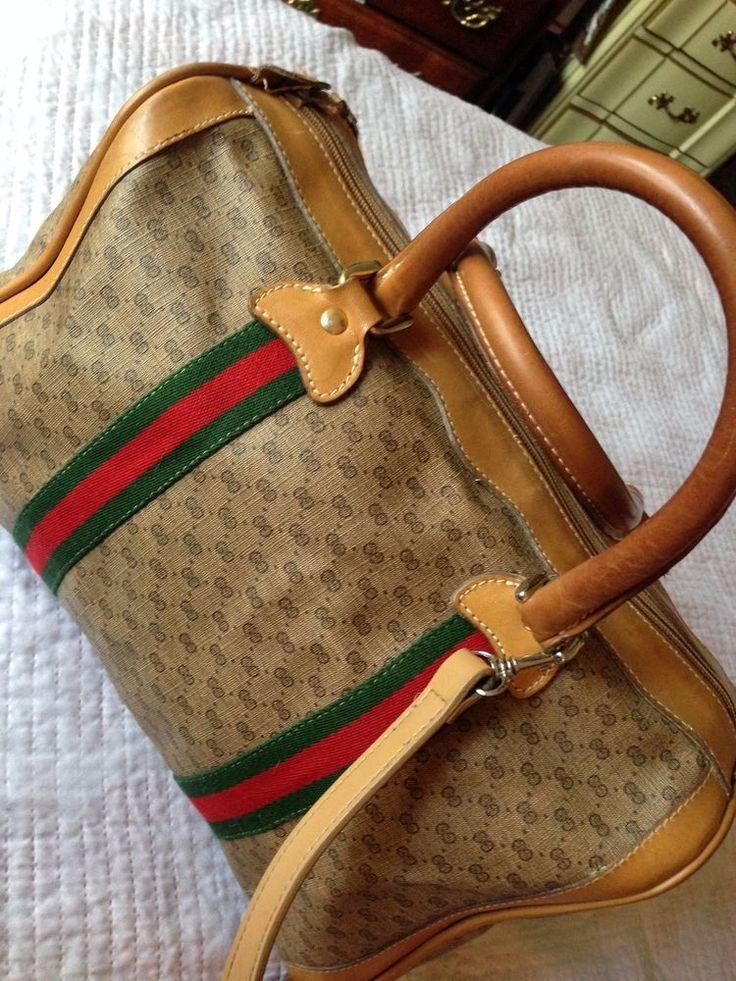 Auth VTG Gucci Tan & Brown Monogram Canvas Leather Trim Satchel Handbag #Gucci #Satchel