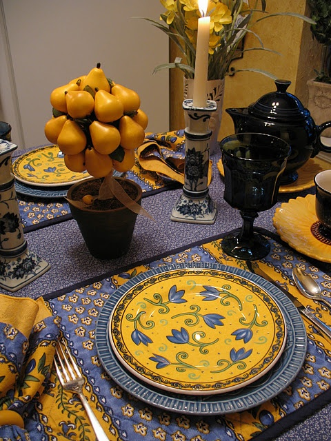 Table set for breakfast. Love the dishes and Pierre Dieu-ish linens and cobalt teapot and glasses