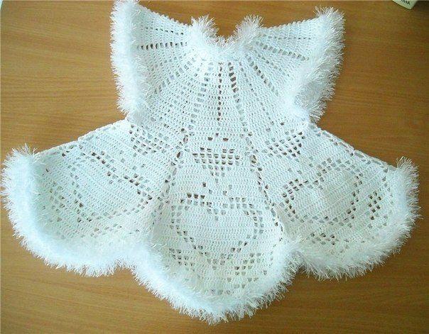 Платье для девочки на новый год крючком. Схема новогоднего детского платья крючком |