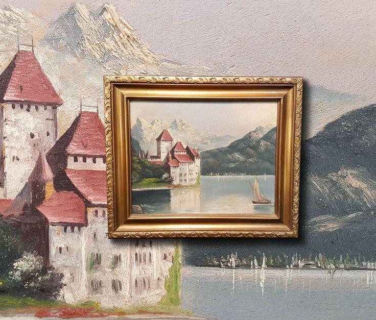 Schloss Chillon am Genfer See. Original Ölgemälde, signiert L. HÜBNER Lac Leman