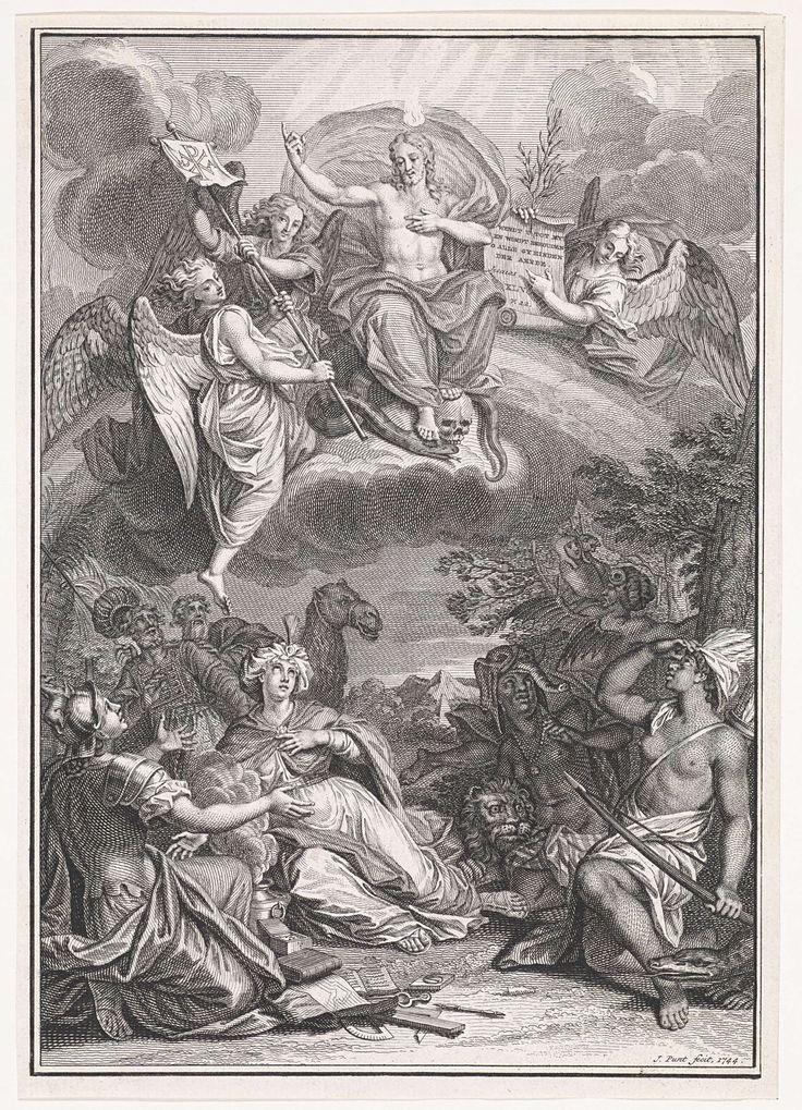 Jan Punt | Heidense volken in aanbidding van Christus in de hemel, Jan Punt, 1744 | De personificaties van heidense volken kijken vol verwondering omhoog naar Christus. Hij troont in de hemel, op een regenboog, omringd door engelen. Boven zijn hoofd brandt een vlam, met zijn ene voet vertrapt hij de slang van het kwaad, met de andere staat hij op een schedel. Een van de engelen wijst op een vel waarop een Bijbelcitaat uit Jes. 45:22 in het Nederlands. De andere twee houden een vaandel vast.