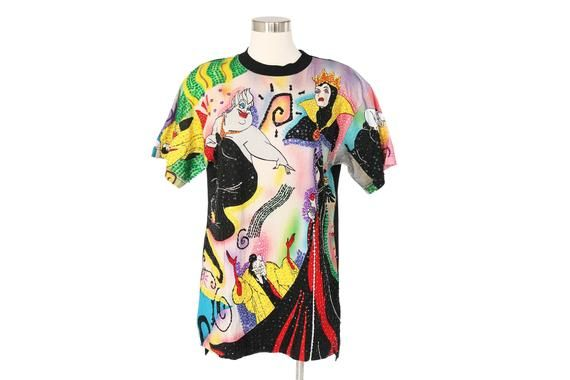 Vintage Disney Villains Sequin Oversized Shirt Graphic Disney Retro T Shirt In 2020 Retro Tshirt Vintage Disney Oversized Shirt