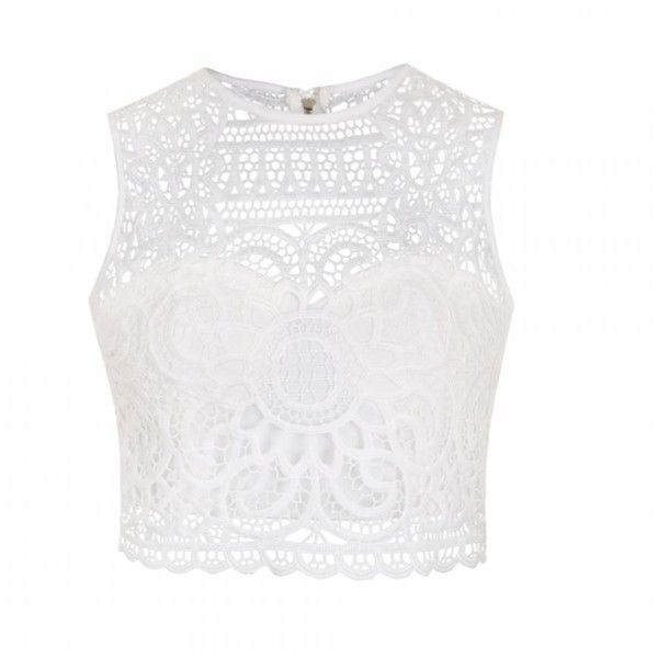 Ally Fashion Lace crop top (£17) ❤ liked on Polyvore featuring tops, crop tops, shirts, white shirt, lace crop top, lace detail top, white lace bustier and shirts & tops