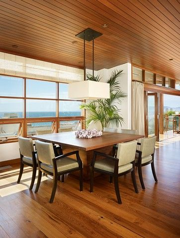 Modern Chic Beach House Dining Room...carefully used elements have brought the feel of Asia, such as Antique window screens, Antique side drums, exotic bulky furniture.