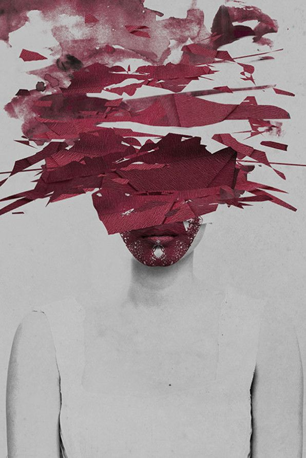 Januz Miralles - paint/fabric pieces covering the face.